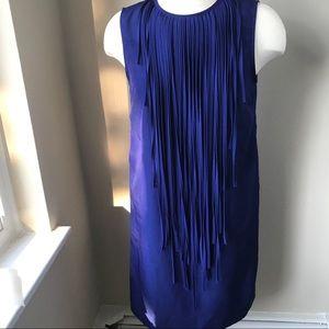Zara Basic Med. Blue Fringe Neckline Dress